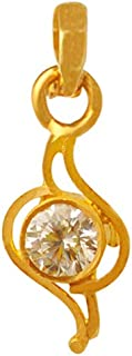 Lagu Bandhu 22k (916) Yellow Gold and American Diamond Pendant for Women