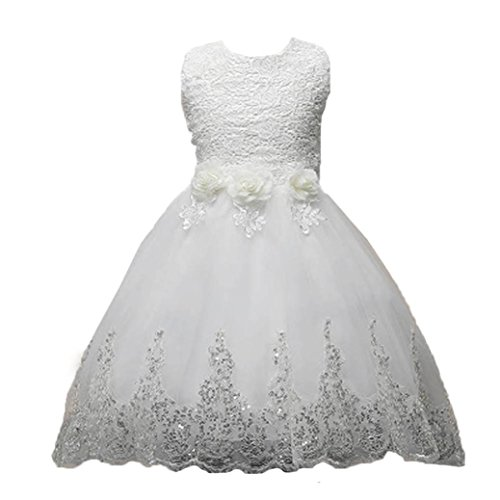 Btruely Prinzessin Kleid Mädchen Bowknot Brautjungfern Kleid Lange Abendkleid Blumen Cocktailkleid Hochzeit Partykleid Tüll Festzug Kinder Spitze Kleid (120, Weiß)