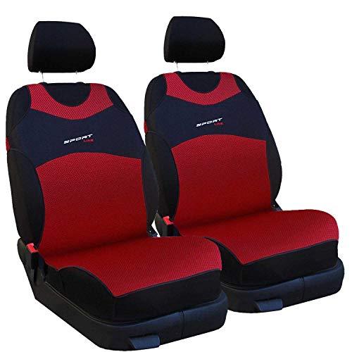 Saferide - Juego de 2 fundas universales para asientos de coche, de poliéster, adecuadas para airbag, para asientos delanteros y 1 asientos delanteros (rojo)