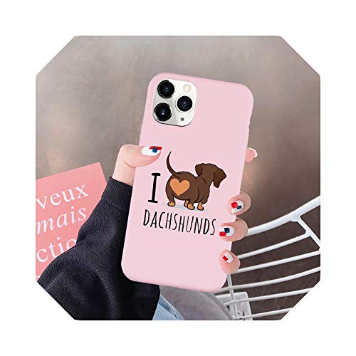 I Love Dachshunds - Cover per iPhone 11 Pro 12 XS Max 7 XR X SE20 8 6 Plus Cute Dog Soft Silicone Cover-Style 1-for iphone 12 Pro