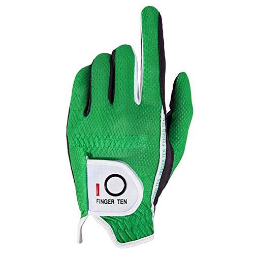 FINGER TEN Men's Golf Glove Rain Grip Black Grey Left Hand Pack, Durable Fit for Hot Wet All Weather, Size Small Medium Large XL (Green, Medium)