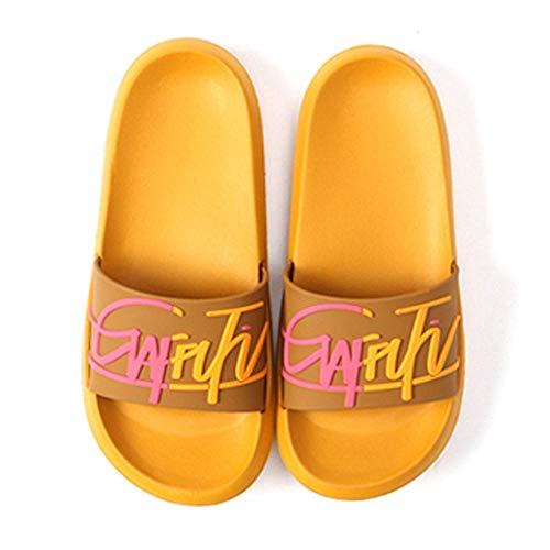OUGEA Summer Inicio Pareja Zapatillas Mujer Antideslizante cómodo INS Viento Inglés-Amarillo_36-37 Yardas