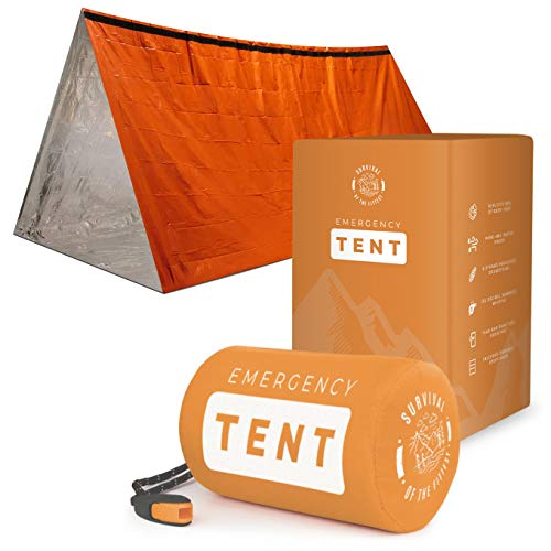 Survival Emergency Tent - Portable Mylar Survival Tent for Bug Out Bag Supplies- Lightweight Tube Tent - Emergency Survival 2 Person Tent Waterproof Shelter Doubles as Survival Sleeping Bag