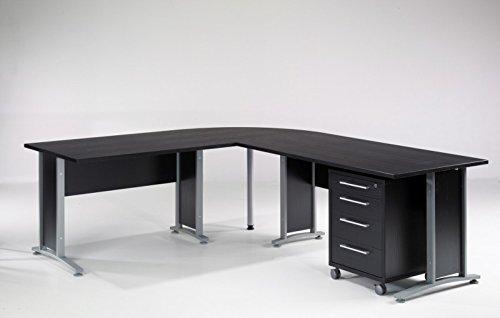 Froschkönig24 Prima Winkelkombination Schreibtisch Eckschreibtisch Bürotisch mit Rollcontainer Schwarz