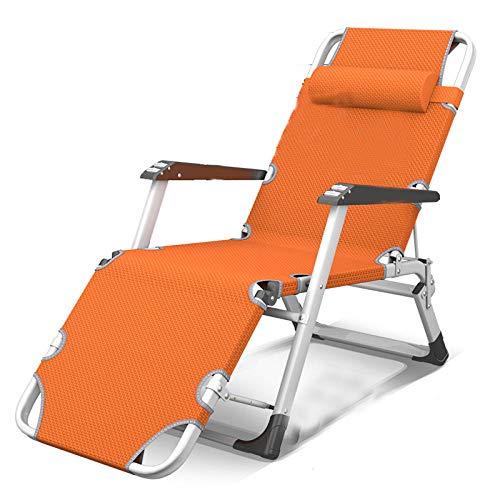T-ZBDZ Silla De Salón Plegable Almuerzo Descanso Siesta Respaldo Balcón Hogar Ocio Playa Jardín Portátil Sólido Durable Silla Naranja