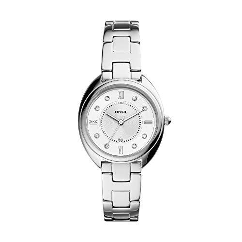 Fossil Relógio feminino Gabby de aço inoxidável com detalhes de cristal de quartzo, Relógio Gabby de aço inoxidável com data de três ponteiros - ES5069, Prata, One Size