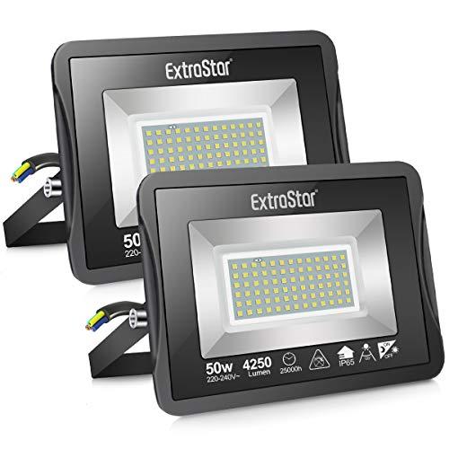 Faretto LED da esterno 50W con Sensore Crepuscolare, Faretto LED da esterno 6500K Faretto LED, IP65 Impermeabile, per Parcheggio, Ingresso, Corridoio, Garage, 2 pack