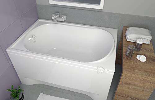 ECOLAM Badewanne Mini kleine Wanne Rechteck Acryl weiß 110x70 cm + Schürze Ablaufgarnitur Ab- und Überlauf Automatik Füße Silikon Komplett-Set