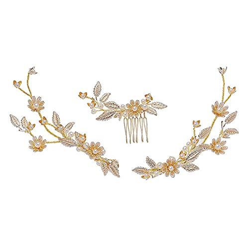 Tocado de novia perla horquilla europea y americana peine para el cabello diadema corona tocado cristal perla clip lateral adorno para el cabello