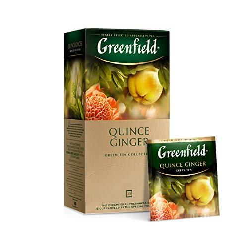 Greenfield Quince Ginger, Green tea, Calendula, Grüner Tee, Quitte, Ingwer, Ringelblume, Teebeutel (2g x 25), 50g
