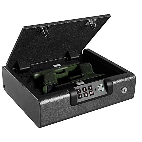 BILLCONCH Gun Safe,Biometric Gun Safe for Pistols 4-Ways unlock Safe | View log, Manage & Unlock by APP | Fingerprint | Digital PIN | Key Unlock