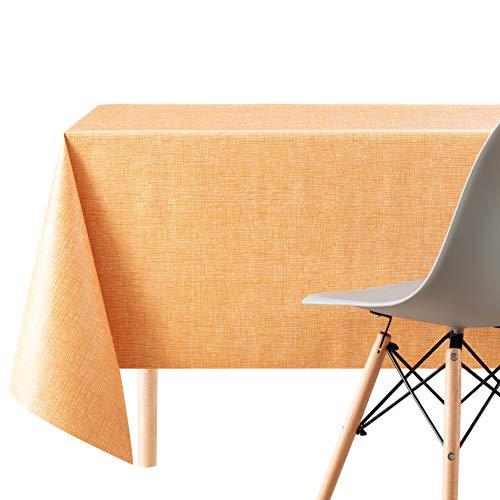 KP Home Hules para Mesas Rectangular Naranja Claro de PVC Fácil de Limpiar - 200 x 140 cm - Mantel Plastico Mesa de Vinilo Plastificado Fácilmente Limpiable