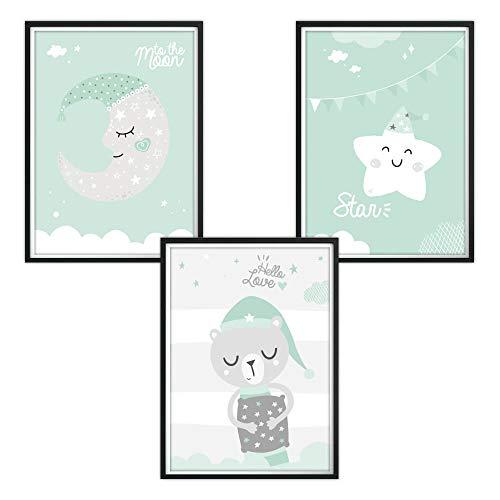 luvel YOUNG FASHION 3er Set Poster für Kinderzimmer, mintgrüne Träume (P62)