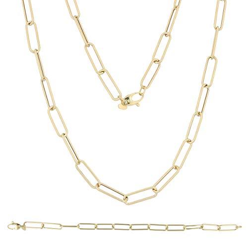 Gioiello Italiano - Set in 14kt geel goud, met armband en ketting, voor vrouwen