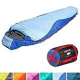 KeenFlex Mumienschlafsack 350-3 Jahreszeiten -5℃ + 15℃ - Hochentwickeltes Wärmeregulierungssystem – Ideal für Camping, Backpacking oder Wandern – (Blau)