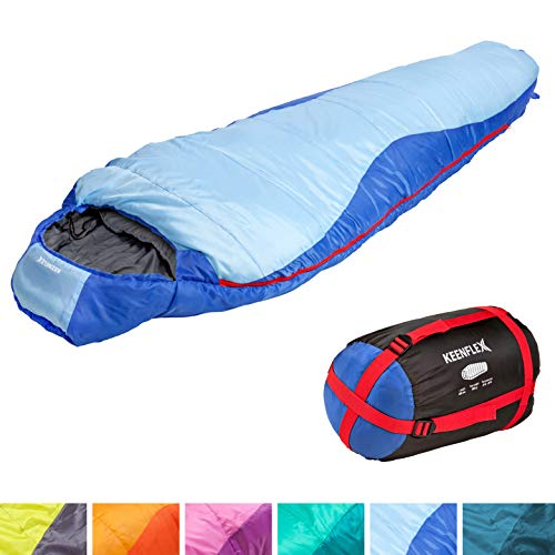 KeenFlex Slaapzak, 3 seizoenen -5 °C + 15 °C, geavanceerd warmtereguleringssysteem, mummieslaapzak, ideaal voor kamperen, backpacking of wandelen