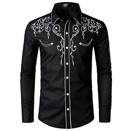 Luxfan Mens Western Cowboy Shirt Long Sleeve Embroidered Button Down Shirt (A-Black,XL)