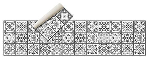 Alfombra Vinílica Hidráulica (240 x 60 cm, Negro-Gris)- Distintos Colores y tamaños - Alfombra Cocina- Alfombra baño - Alfombra Comedor Antideslizante - Alfombra Dormitorio - Esponjosa y Suelo PVC