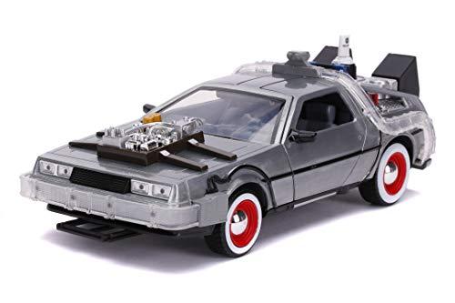 Jada - Regreso al futuro Coche DeLorean escala 1:24, carrocería metálica fundida a presión, apertura de puertas, luces, licencia 100% oficial (Jada 253255027)