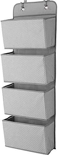 ManGotree Organizador de almacenamiento para colgar sobre la puerta, organizador de almacenamiento para armario, 4 bolsillos para colgar en la puerta con 2 ganchos, plegable (gris oscuro)