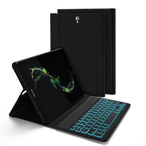 Jelly Comb Samsung Galaxy Tab S3 Tastatur Hülle, Bluetooth Beleuchtete Tastatur mit Schützhülle für Samsung Galaxy Tab S3 9.7 T820 / T825, QWERTZ Deutsches Layout mit 7-farbigen Beleuchtung