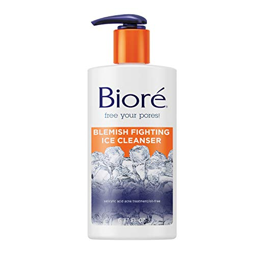 Biore Blemish Fighting Ice Cleanser, Salicylic Acid, Clears and Prevents Acne Breakouts, Cools and Refreshes Skin, Oil Free, 6.77 Ounce
