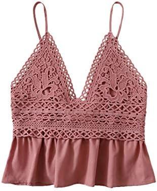 SheIn Women s Summer Printed Ruffle Hem Blouse Cami Sleeveless Peplum Top Rust Small product image