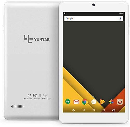 YUNTAB Pulgadas Android 7.1 Tablet pc aleación Metal Trasero C7 Quad-Core IPS 8001280 Pantalla 2 GB + 16GB con WiFi GPS y Bluetooth cámara Dual Plata