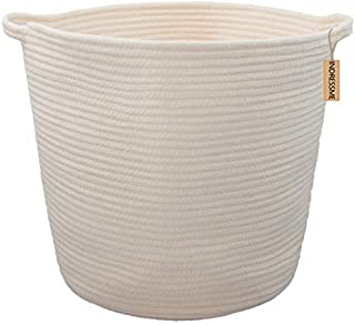 INDRESSME XL Cotton Rope Storage Basket Baby Laundry Basket Woven Baskets with Handle for Diaper Toy Off White Home Decor 16.0