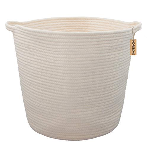 f2f5465644442b INDRESSME XL Cotton Rope Storage Basket Baby Laundry Basket Woven Baskets  with Handle for Diaper Toy