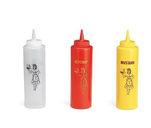 TableCraft 3-Piece Nostalgia Squeeze Bottle Set, 12-Ounce