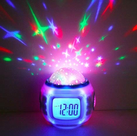 Star Projector Color Changing Starry Night Light for Kids, Digital Alarm Clock Bedside for Kids with Music, Decompression Electric Clock for Student Children Use
