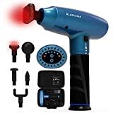 Massage Gun with Heat, Deep Tissue Percussion Muscle Massager for Pain Relief, Handheld Body Electric Massager for Athletes - Quiet, 5 Speeds - Includes 5 Replaceable Heads & Carrying Case