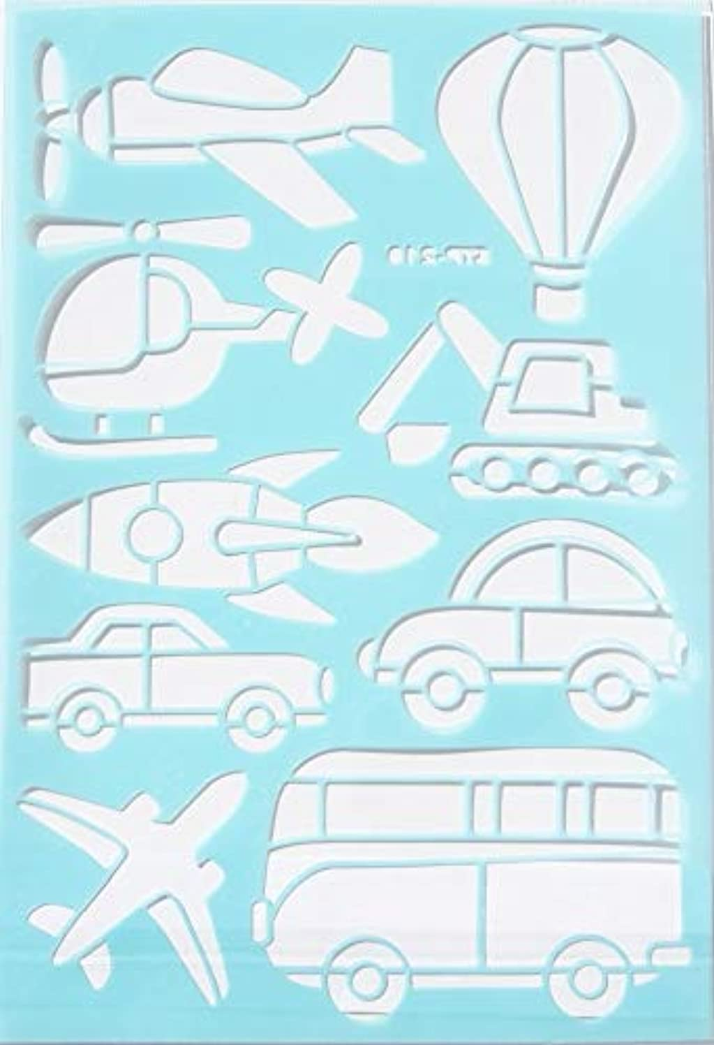 Color Factory Adhesive Multi-Media Planes, Automobiles, and Vehicles Stencil - 7.5 x 11 Inches