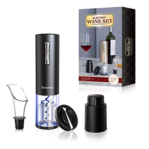 Abridor de vino eléctrico Sacacorchos recargable Juego de abrebotellas automático de vino tinto Accesorios para entusiastas del vino Kit de abridor de botellas de acero inoxidable (Negro)