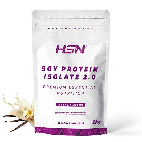Proteína de Soja Aislada de HSN | Vegan Protein | Proteína Vegana con Stevia | Soy Protein Isolate | Sin Gluten, Sin Colesterol, Sin OMG, Sin Azúcar, Sin Lactosa, Sabor Vainilla, 2 Kg ✅
