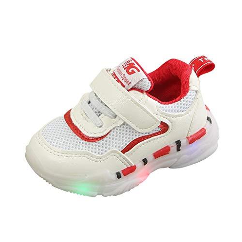 Dorical Unisex Babyschuhe Kleinkind Kinder Baby Schuhe mit Licht LED Leuchtschuhe Weiß Turnschuhe Blinkende Sneaker 21-30 Sportschuhe(Rot-3,30 EU)