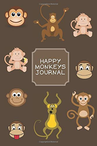 Happy Monkeys Journal: Elegant Multi-Purpose Lined Composition Notebook With Smiling Apes On The Cover For Girls / Boys / Kids / Friends / Student