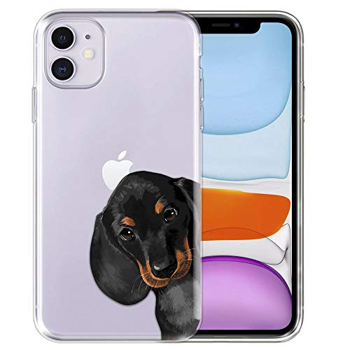 FINCIBO Case Compatible with Apple iPhone 11 6.1 inch 2019, Clear Transparent TPU Silicone Protector Case Cover Soft Gel Skin for iPhone 11 (NOT FIT 11 Pro) - Dachshund Puppy Dog Hide and Seek