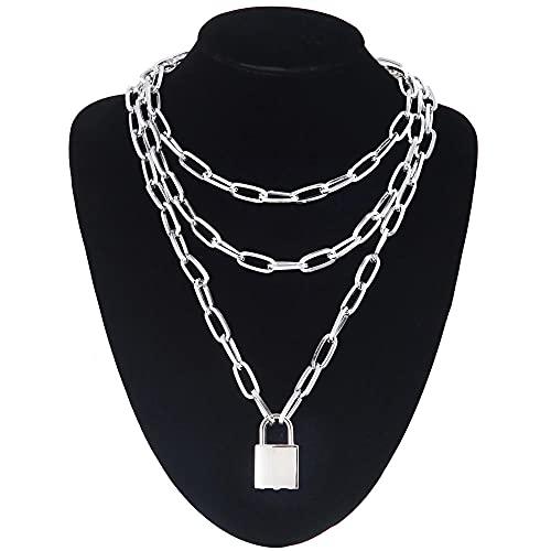 AQING Couche Punk esthétique énorme Cadenas chaîne Collier 2020 chaînes de Verrouillage métalliques Goth Bijoux Grunge Harajuku Accessoire-Couleur Argent