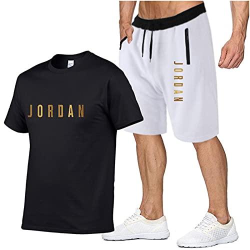 Conjunto de chándal para hombre Bulls Jordan camiseta y pantalones cortos, media manga primavera y verano ropa deportiva al aire libre, aficionados al baloncesto moda sudaderas para correr negro 2-XL