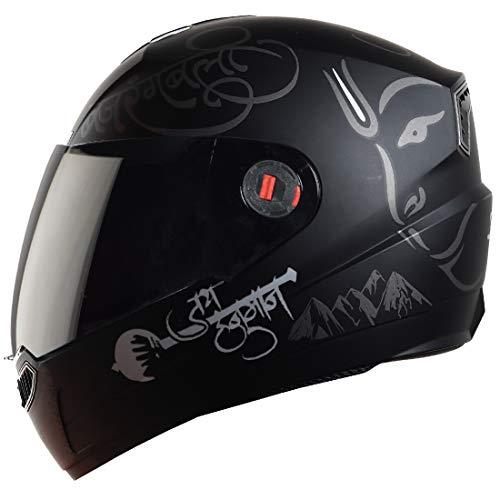 Steelbird SBA-1 Mahavir ABS Material Shell Full Face Graphic Helmet Fitted with Clear Visor and Extra Smoke Visor (Medium 580 mm,...