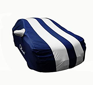 Autofurnish Stylish Stripe Car Body Cover For Regular Hatchback Cars - Arc Silver Blue