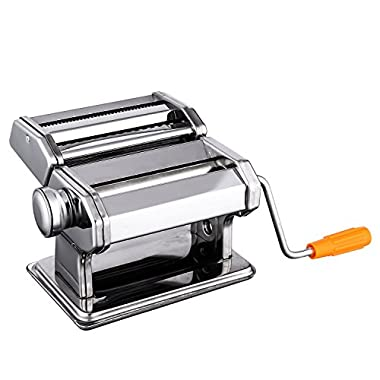 SAILNOVO Pasta Maker Machine, Stainless Steel Noodles Cutter with Clamp for Spaghetti Lasagna Tagliatelle (Pasta Maker)