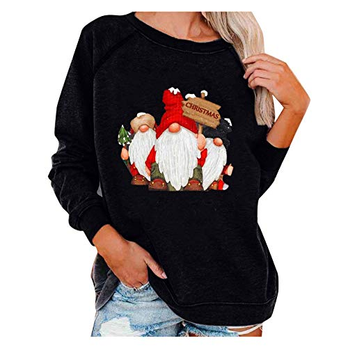 YANFANG Blusas Mujer Invierno,Christmas Sudadera con Capucha Estampada navideña para Mujer con Cuello Redondo y Mangas largas Deportivo,Fitness,devertidas