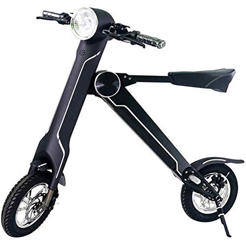 LLLQQQ Motorino Elettrico Pieghevole, con l'altoparlante Bluetooth 12 Pollici Portable Scooter Elettrico Adulti Piccolo Bicicletta elettrica di Crociera Gamma di 40 km,Nero