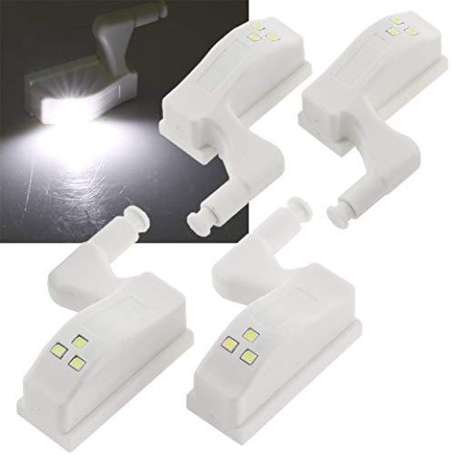 ChiliTec Scharnier Schrank Batterieleuchte LED 4 Stück I Universal einsetzbar Küche, Kleiderschrank I Batteriebetrieb I 4er Set I Weiß