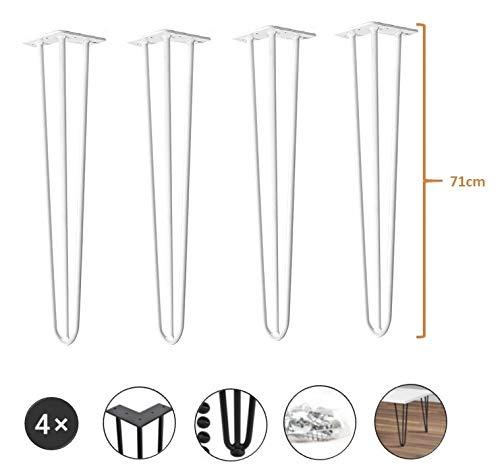 4er Set Tischbeine aus Metall - hairpin legs perfekt geeignet für Esstisch, Couchtisch, Schreibtisch & mehr (71 cm, Weiß)