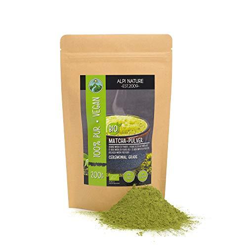 Matcha biologico in polvere (200g), tè verde Ceremonial Grade, tè matcha in polvere da coltivazione biologica certificata, senza glutine, senza lattosio, testato in laboratorio, vegano