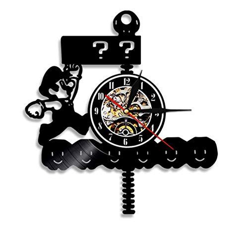 Reloj de Pared Moderno silencioso, Reloj de Pared Retro Record, Decoración de Dormitorio de Estudio de Sala de Estar, decoración del hogar. Pantalla de Juego